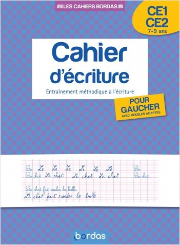 Cahier d'écriture pour gauchers CE1/CE2
