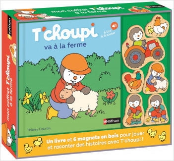 Coffret T'choupi va à la ferme avec 6  magnets en bois - Dès 2 ans