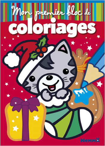 Mon premier bloc de coloriages - Chat Noël