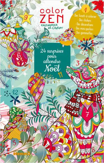 Color Zen - 24 surprises pour attendre Noël - Calendrier de l'Avent avec décorations, coloriages et stickers - dès 7 ans