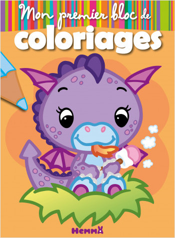 Mon premier bloc de coloriages - Dragon - Bloc de coloriages aux contours épais et colorés - Dès 3 ans
